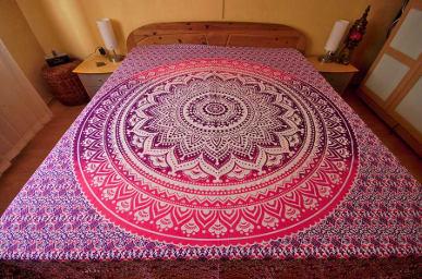 indische tagesdecke goa stranddecke mandala in pink und. Black Bedroom Furniture Sets. Home Design Ideas
